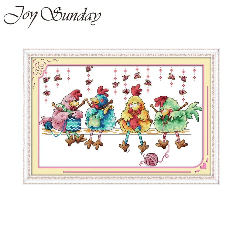 Joy Sunday chick-kit de punto de cruz con estampado de aves, cuadros bordados diy, ropa hecha a mano