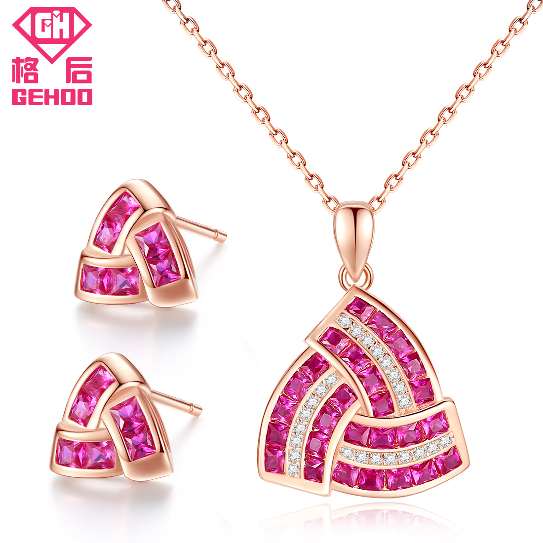GEHOO 2018 Triangle Geometry Jewelry Set Pandent Necklace & Stud Earrings Pretty Gem Stone 925 Sterling Silver Charm Women Gift gorgeous faux gem triangle necklace for women