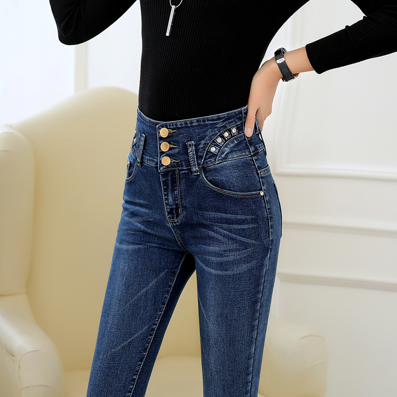 Autumn Fashion 26-34 High Waist jeans High Elastic plus size Women Jeans woman femme washed casual skinny pencil Denim pants djgrster jeans for women with low waist jeans woman high elastic plus size women jeans femme washed casual skinny pencil pants