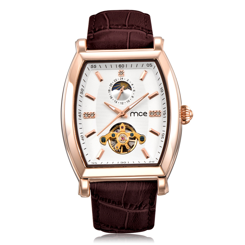 Business Moon Tourbillon Mechanical Watch Men MCE Luxury Brand Gold Leather Automatic Watches Waterproof Orologio Uomo