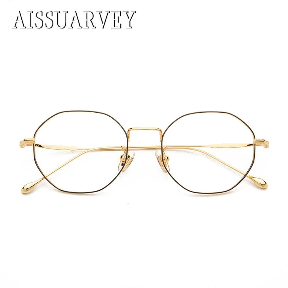 Pure Titanium Retro Hexagon Vintage Optical Eyeglasses Frame Brand Designer Top Quality Fashion Oversize Spectacles Golden