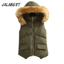 2017 autumn winter new women short solid cotton With fur collar vest female casual slim thin Irregular hem warm coat