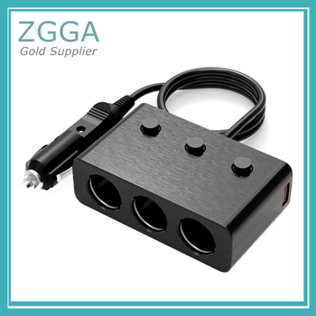 Quick Charge 3.0 Car Charger Cigarette Car Lighter Power Supply Adapter Splitter With 6A Dual USB 3 in 1 12V 3 Socket