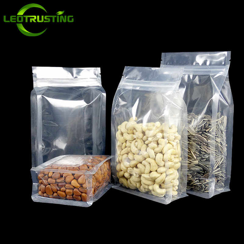 Leotrusting 50pcs 3D Stand up Plastic Ziplock Bag High Clear Window Coffee Snack Cookie Rice Packaging Bag Plastic Gift Bags