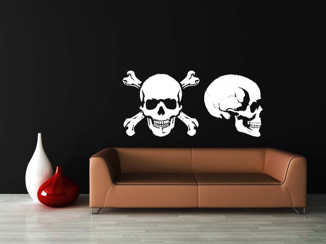 Creative Skull and Crossbones Art Wall Stickers Skull Profile Pirate Wall Decal Murals For Home Special Cool Decoration WM182