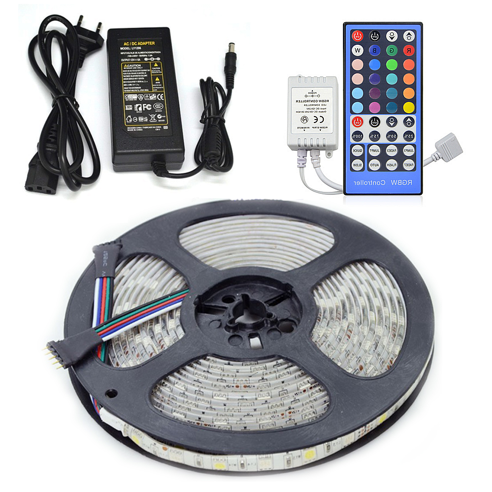 LED Strip Light kit RGBW Non-Waterproof/Waterproof 5050 Flexible Tape + 40key Remote Controller +12V 5A Power Supply Kit 5M