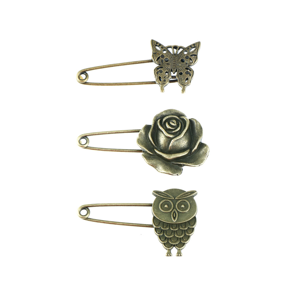 long safety pins vintage pin brooch owl shape ornaments for scarf sweather coat bags