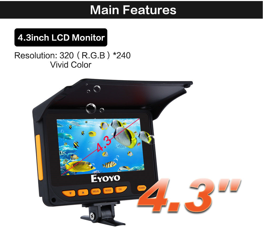 EYOYO F05 4.3 20M Infrared IR 320*240 Underwater Ocean River Sea Boat Ice Fishing Camera Fish Finder Video Fixed on the Rod baricco a ocean sea