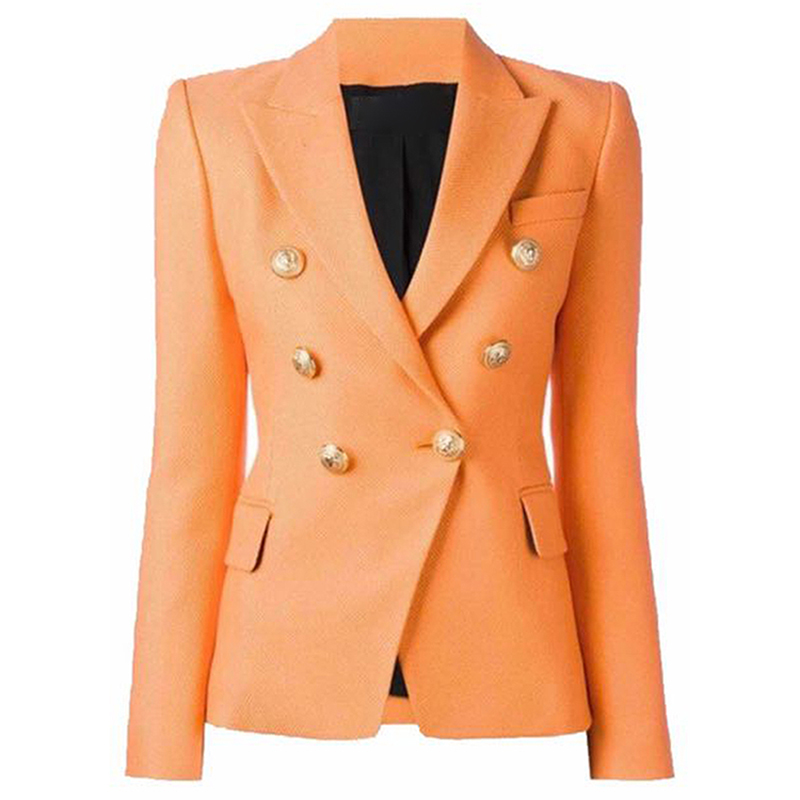 HIGH QUALITY Newest 2020 Baroque Designer Blazer Women's Classic Double Breasted Metal Lion Buttons Blazer Jacket Outer