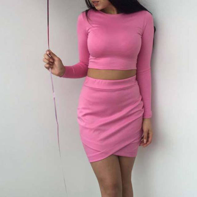 Women Skirt Sets Pink 2018 Autumn Long Sleeve Crop Top And Skirt Set Women Elegant Party 2 Piece Outfits For Women WS9624S