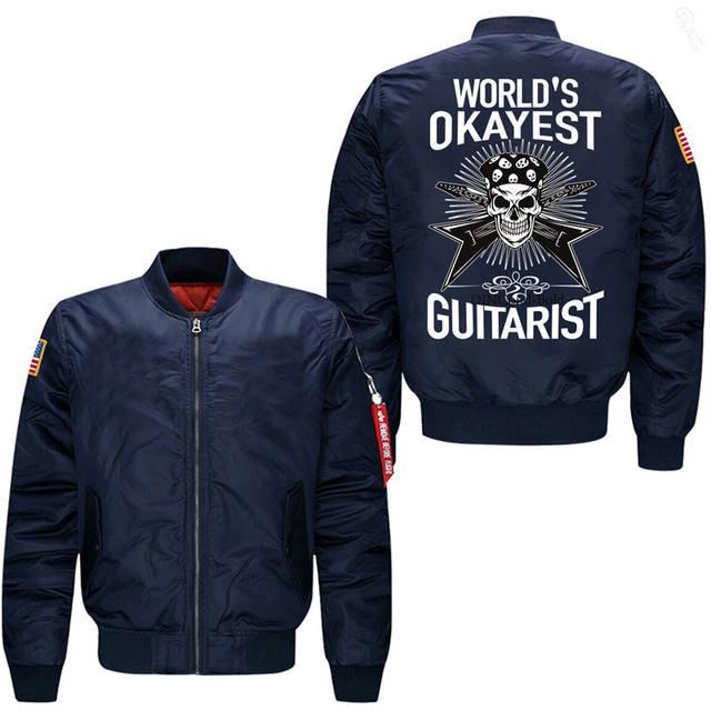 WORLD'S OKAYEST SKULL GUITARIST BOMBER JACKET