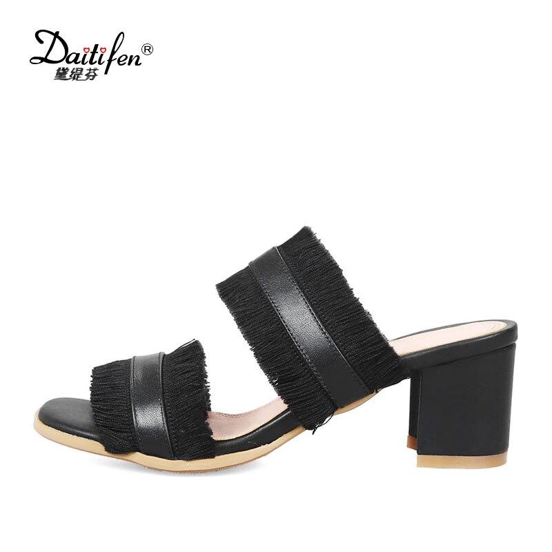 ce62ef6865be3 5 5 Sandales Mode Blanc Mules Chaussures Rouge Cuir White Femmes red  Daitifen black sur Cm Véritable Carrés Slip Talons Pantoufle Haute ...