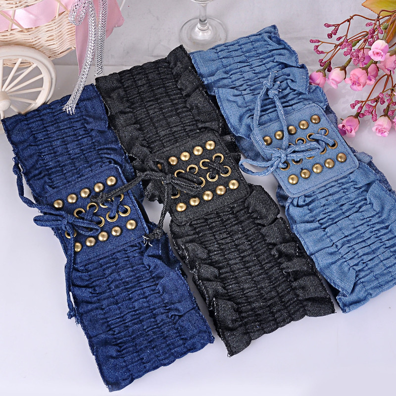 Free Shipping New Popular Female Hot-selling Vintage Punk Denim Rivet Belt Bow Elastic Bandage Wide Trench Lace Cummerbund Women