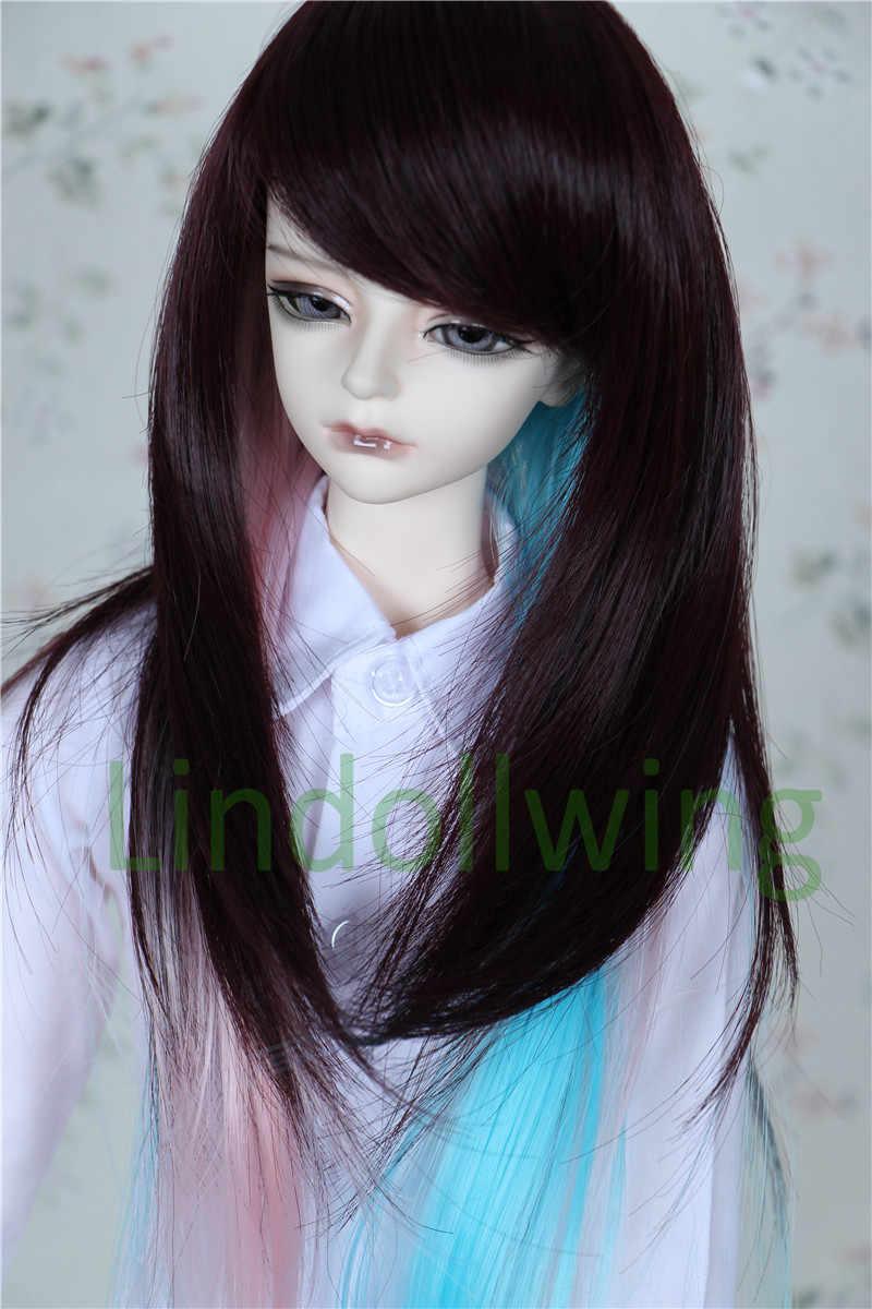 1/4 BJD perruque Pullip Dal DD SD LUT Dollfie poupée perruque 7-8 pouces perruque cheveux longs marron rose bleu
