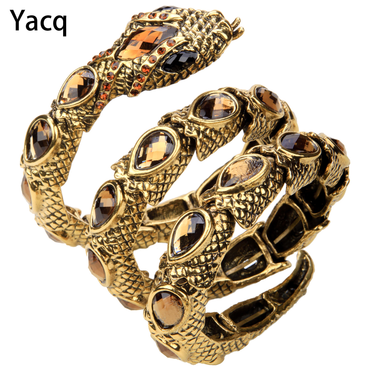 YACQ Stretch Snake Armband Armlet Övre Arm Manschett Kvinnor Punk Rock Crystal Bangle Smycken Guld Silver Färg Dropshipping A32