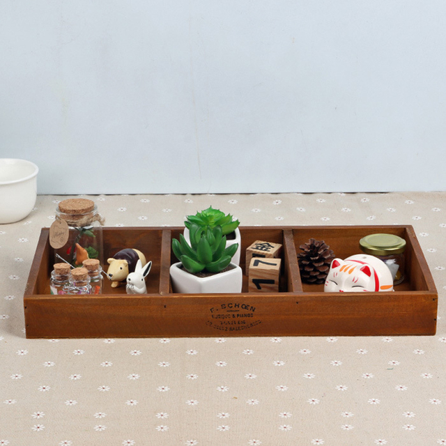 Vintage Retro Storage Boxes Handmade Wooden Box Plant Pot Tray
