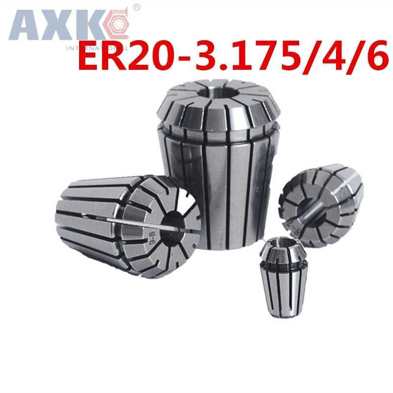 AXK 2 pièces CNC ER20 3.175/4/6mm pince de serrage pour CNC outil de fraisage Gravure machine moteur de broche