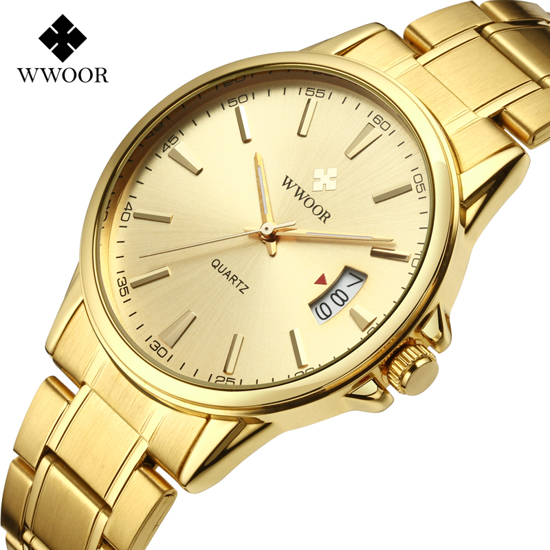 WWOR Top Luxury Brand Gold Steel Mens Quartz Wristwatch Fashion Dress Business Sport Watch Men Male Clock Relogio Masculino