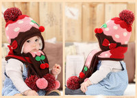 2015 Baby Winter Knit Earflap Hat And Scarf Set Kids Warm Beanies Caps Children Boys Girls