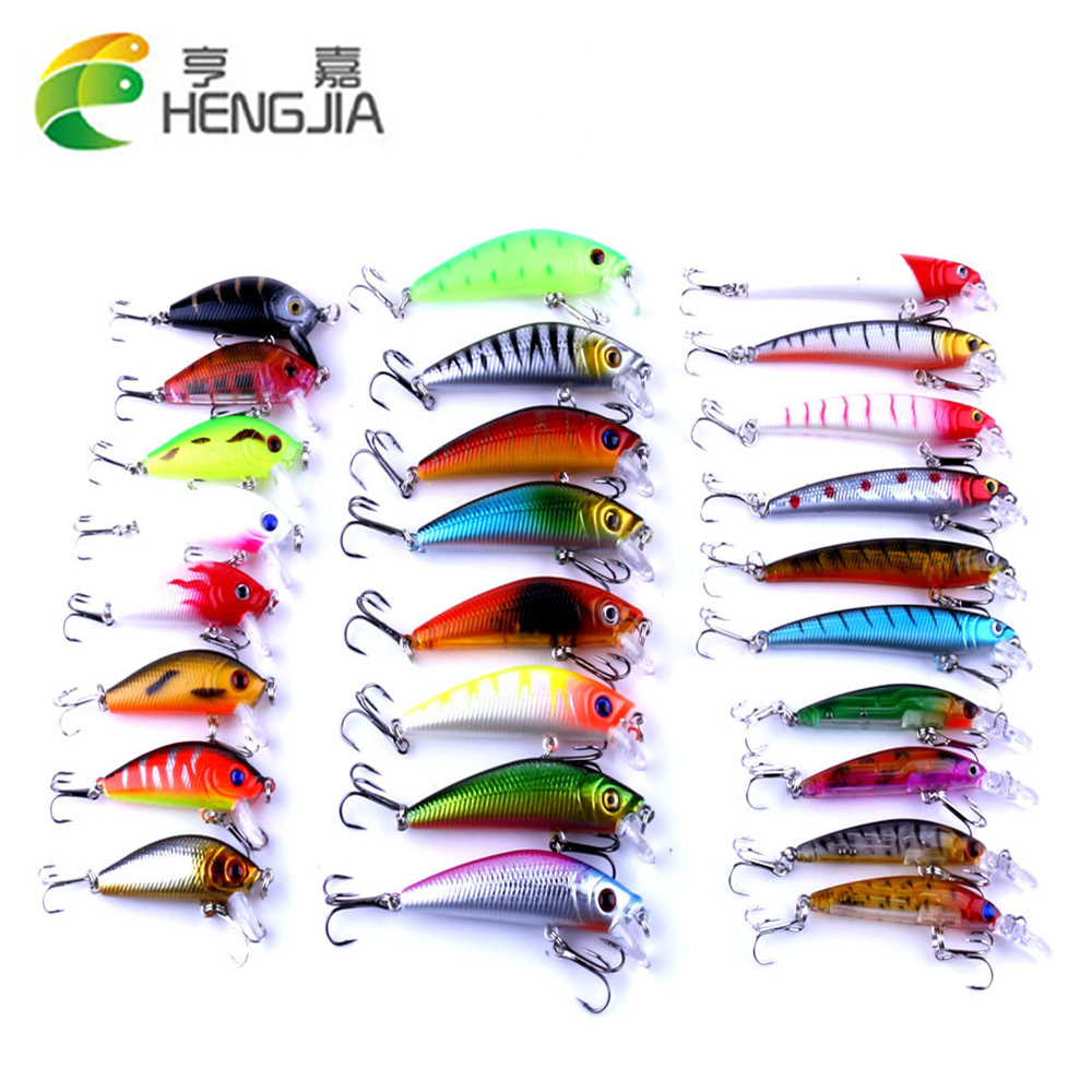 26pcs/pack Fishing Lures Set Minnow Crankbait Wobblers Mixed 3 Styles Artificial Bait Set Fishing Tackle HJ109 Free Shipping hengjia 5pcs fishing lures crankbait minnow hooks artificial bait 11g 105mm fishing accessory mi092