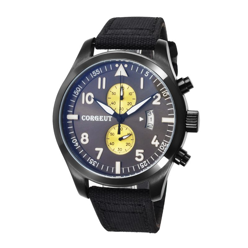 все цены на Corgeut HOT 46mm black PVD Case black plus yellow dial Full QUARTZ Chronograph Mens quartz date water resistant wristwatches