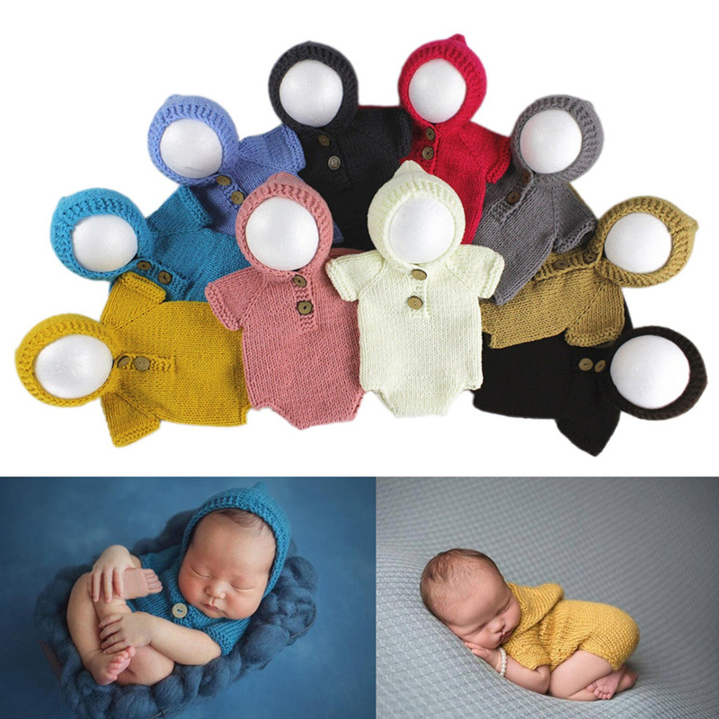 New Fashion Newborn Baby Photography Props Accessories Baby Photography Clothing Baby Photo Prop Accessory Crochet Baby Gifts Knit Jumpsuits Carefully Selected Materials Hats & Caps