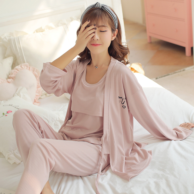 9601eecf3c Lactation Pajamas Costume for Pregnant Women Spring Three-piece Suit Nursing  Pajamas Postpartum Fashion Home for Feeding Clothes
