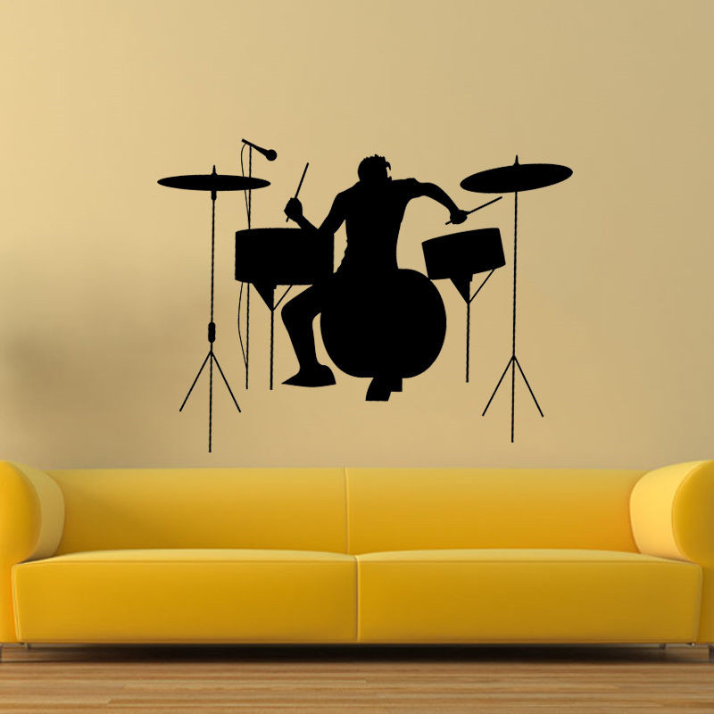 Drummer Silhouette Rock Band Music Wall Sticker Living Room Vinyl ...