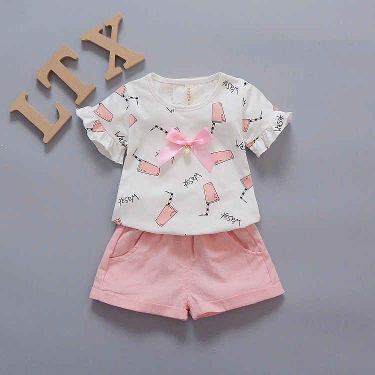 2019 lindo verano cuello redondo niños niñas conjuntos vestido verano bebé algodón rosa niños conjuntos imprimir ropa de manga corta