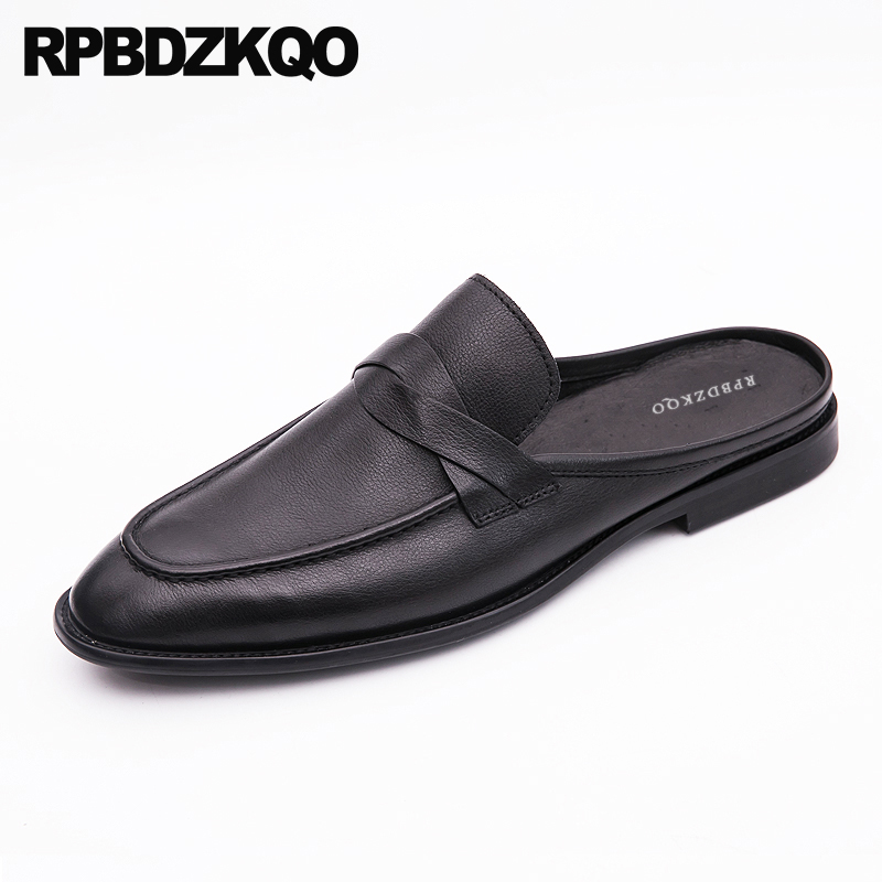Soft Loafers Slippers Genuine Leather Black Slides Sandals Dress Summer Mules Closed Toe Designer Shoes Men High Quality Luxury flats slippers suede pink sandals mary jane genuine leather pointy summer slides designer shoes women luxury 2018 mules gray