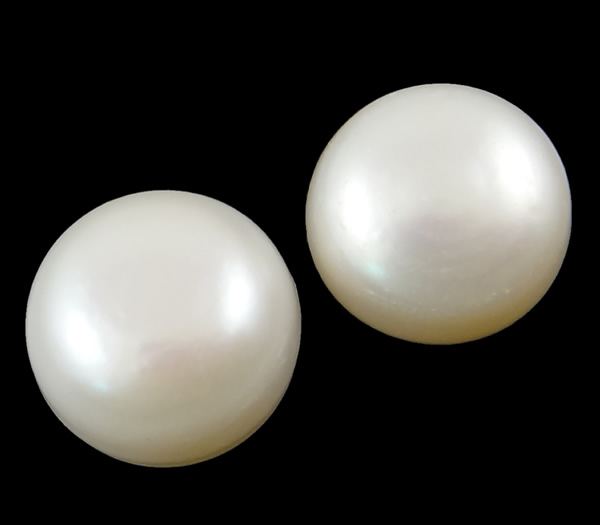 YYW Half Drilled Cultured Freshwater Pearl Beads,Wholesale Jewelry, Round, natural, half-drilled, white, 12-12.5mm Sold By Pair