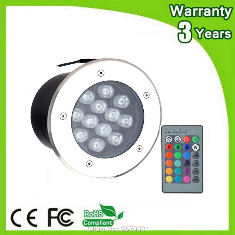 ФОТО (4PCS/Lot) Warranty 3 Years 12W Buried Lamp RGB LED Underground Light Floodlight Wall Washer Remote Color Change Spotlight