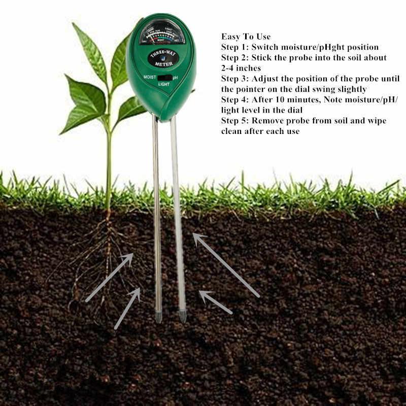 3/4 في 1 التربة مقياس درجة الحموضة اختبار التربة PH مقياس الرطوبة درجة الحرارة أشعة الشمس كثافة قياس تحليل الحموضة القلوية 40% Off