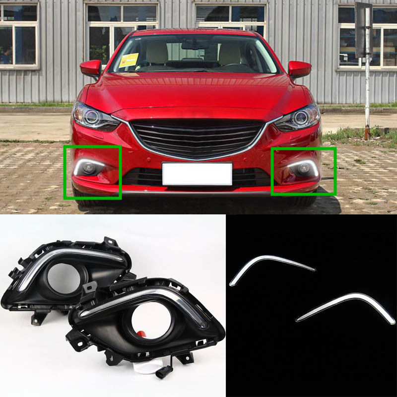 ФОТО Matte Black Cover 12V Car DRL LED Daytime Running Light With Auto Yellow Turning Function For Mazda 6 2013 2014 2015 2016