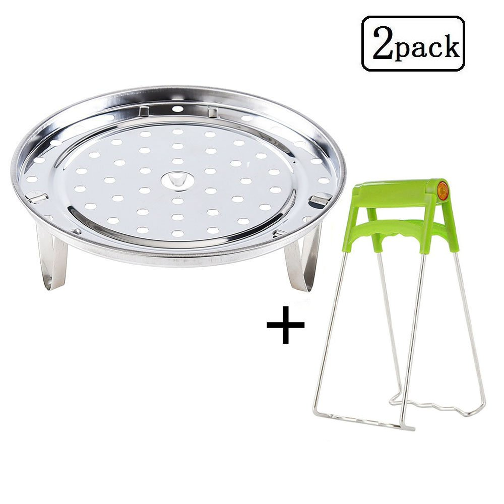Stainless Steel Steam Basket Rack With Foldable Dish Plate Gripper For Instant Pot Accessories Pressure Cooker Food Steamer