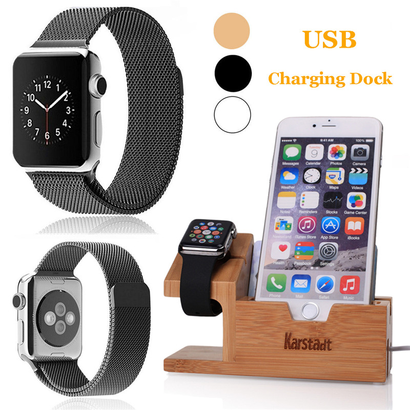For Apple i Watch 38/42MM Wood Stand+ Golf Cable Phone