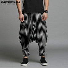 INCERUN Stylish S-5XL Cross-pants Men Harem Pants Irregular Striped Patchwork Men's Trousers Big Drop Crotch Dance Hiphop Male acacia 0297003 men s stylish cozy dacron spandex cycling pants black l