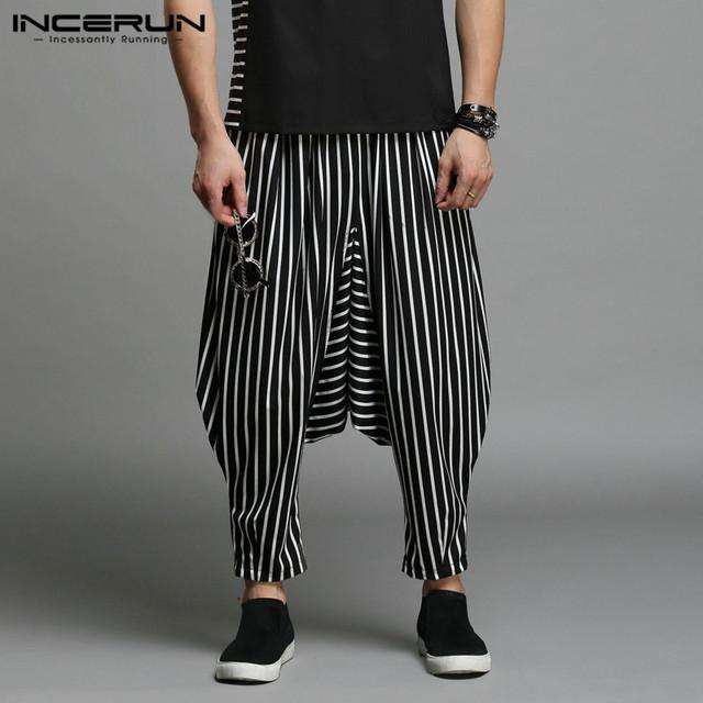 INCERUN Stylish S-5XL Cross-pants Men Harem Pants Irregular Striped Patchwork Men's Trousers Big Drop Crotch Dance Hiphop Male