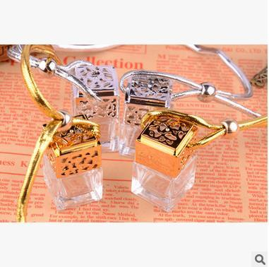 10pcs/lot Gold and silver plating square glass bottles perfume bottle pendant water cube square empty bottles