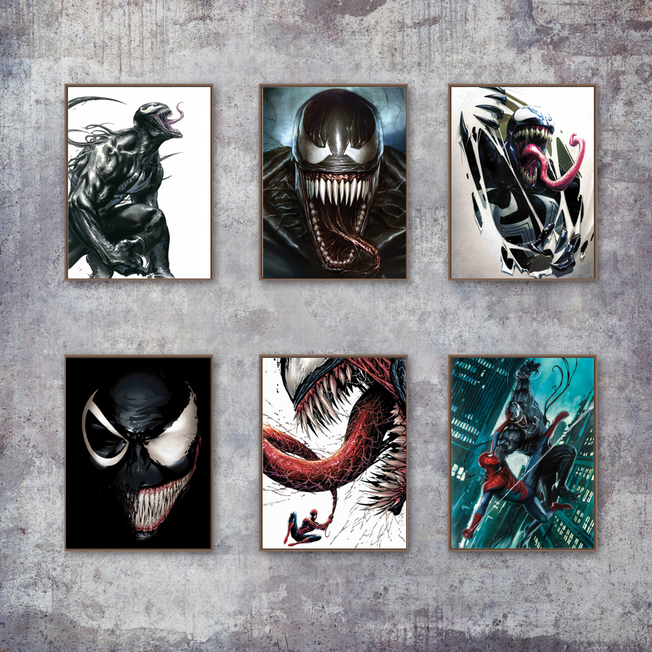 Us 3 04 38 offhorror comics venom spider man movie marvel posters and prints wall art canvas painting wall pictures for living room home decor in