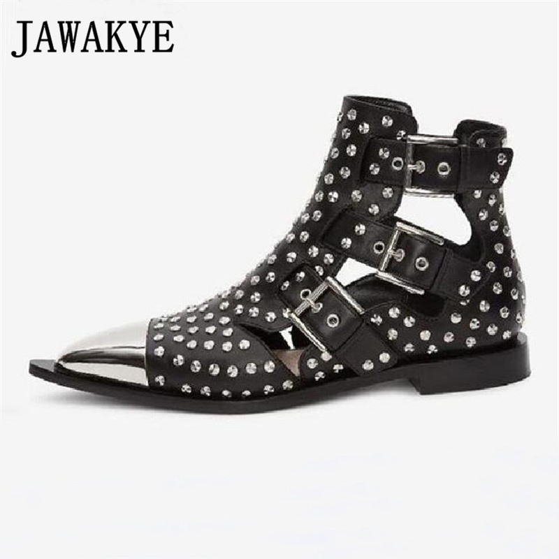 Runway Rivets Genuine Leather Cut Outs Ankle Boots Women Metal Pointed Toe Square Med Heels Shoes Woman Belt Buckle Short BootsRunway Rivets Genuine Leather Cut Outs Ankle Boots Women Metal Pointed Toe Square Med Heels Shoes Woman Belt Buckle Short Boots