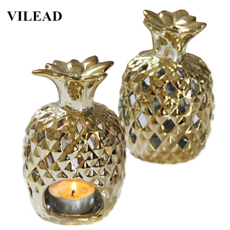 VILEAD 4.9'' Ceramic Pineapple Candle Holders Figurines Gold Plating Pineapple Fruit Ornament Candel Holder Model Home Decor