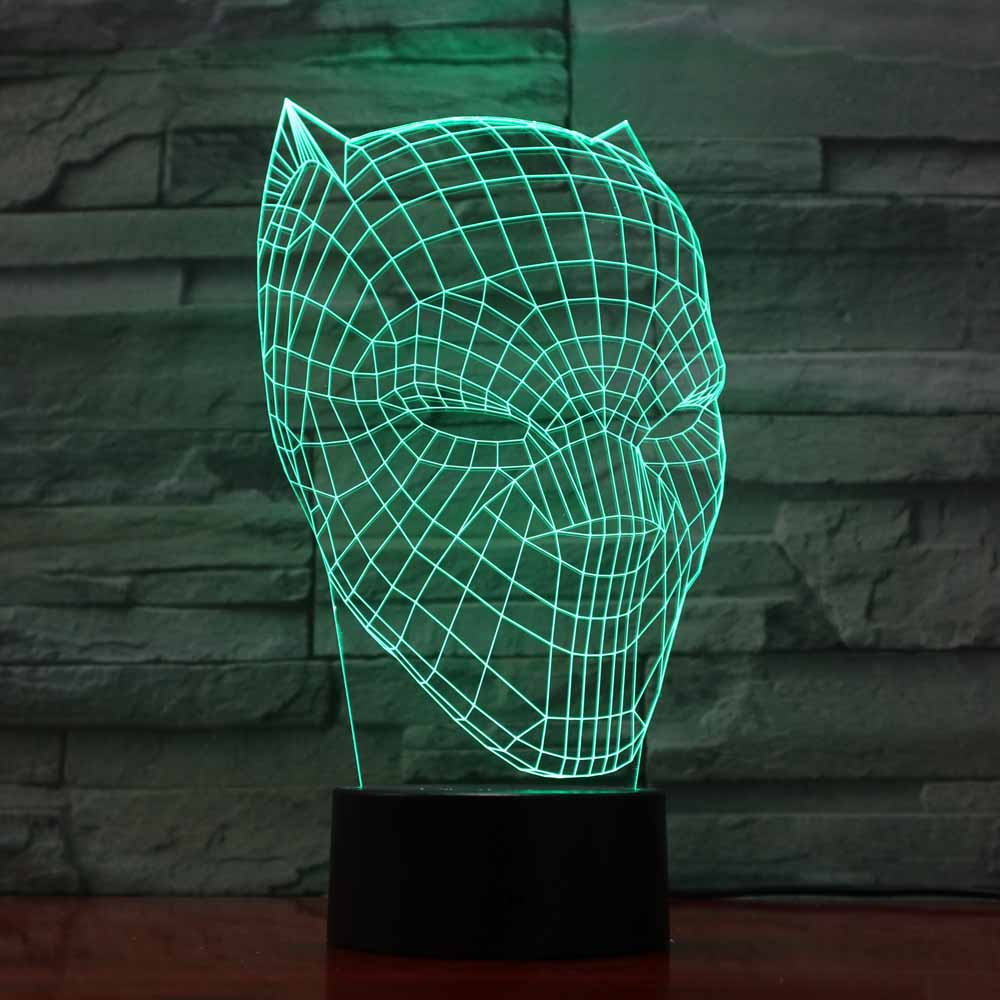 3D Led Black Panther Modelling Nightlight Usb Touch Luminous Super Hero Desk Lamp Kids Bedroom Sleep Lighting Fixture Home Decor