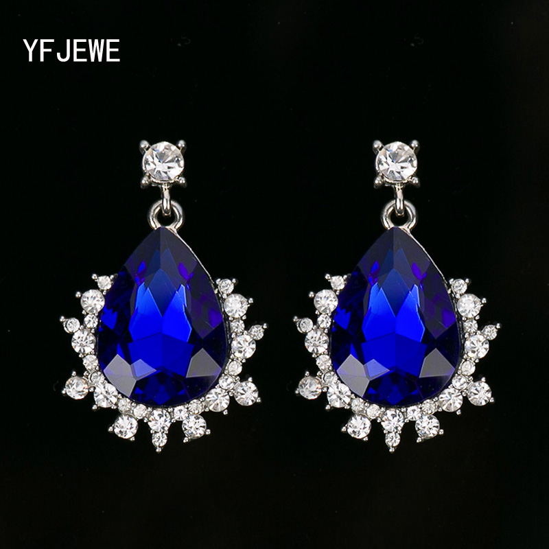 YFJEWE Fashion women Multi-color crystal vintage retro silver plated romantic pendants ladies accessories jewelry earrings #E298