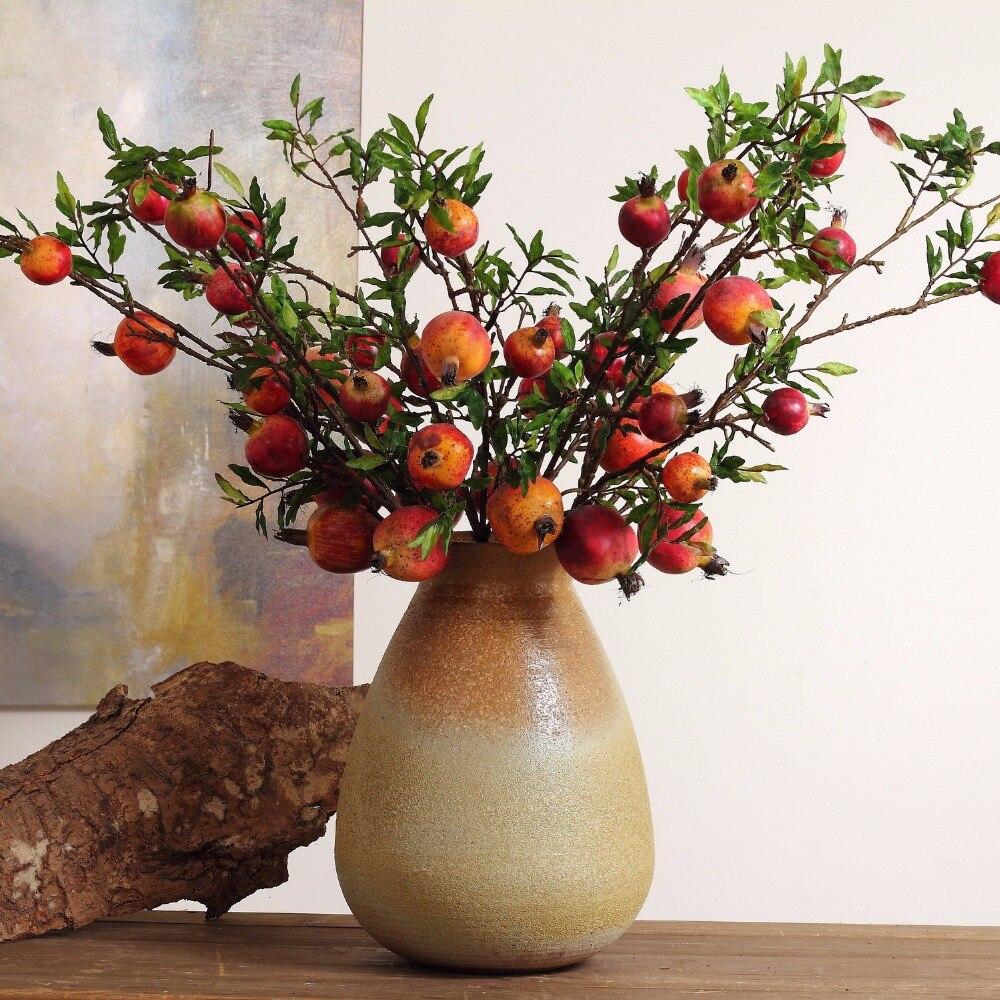 3pcs Pomegranate 94cm Length Artificial Flower Punicagranatum Bouquets Wedding Bridal Home Decorative Fake Flowers 2 Color
