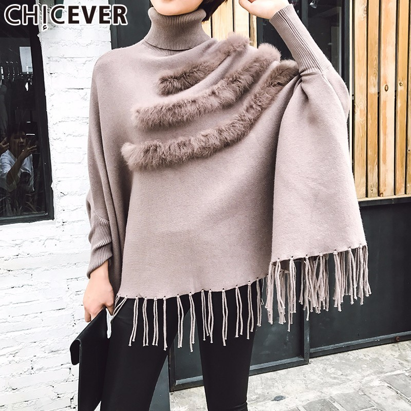 CHICEVER Black Knitting Pullover Female Sweater For Women Top Batwing Sleeve Tassel Autumn Cloak Sweaters Jumper