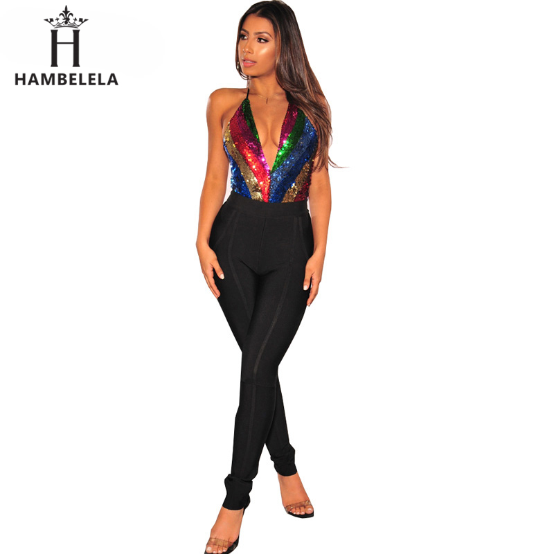 HAMBELELA Sexy Women Bodysuit Striped Overalls Summer 2019 Bodycon Backless Jumpsuit Romper Shiny Sequin Women Playsuit Clubwear (1)