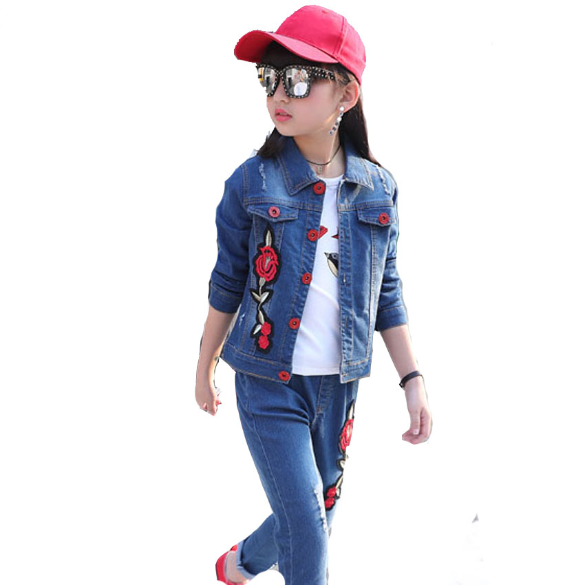 Children Clothing Sets For Girls Denim Outfits Floral Print Jackets For Girls Jeans 2Pcs Spring Autumn School Clothes Suits 2-12