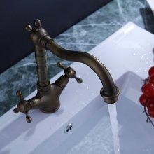 СЖС Горячие Новые Две Ручки Античная Латунь Кухня Раковина Кран с Поворотным Изливом Античная Латунь