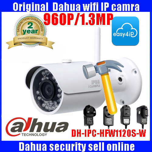 Original Dahua 1.3MP DH-IPC-HFW1120S-W 960P wifi wireless IP camera P2P dahua Easy4ip cloud support IP camera with power adapter видеокамера ip dahua dh ipc hdbw2220rp zs 2 7 12мм 1 2 8 1984x1225